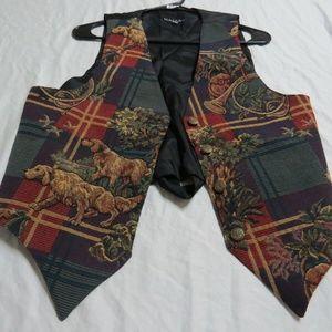 Sz M Plaid & Print Jacquard Womens #83I Suit Vest